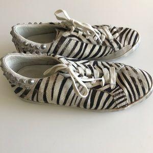 ASH pony hair zebra print studded sneakers